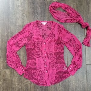 Cabinet Pink Patterned Top & Scarf -.xs